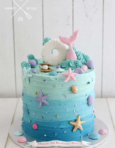mermaid blue ombre under the sea shell cake