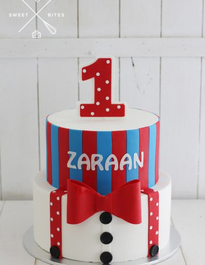 bow tie suspenders stripes 1st birthday cake