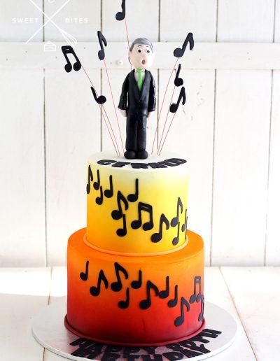 choir singer teacher music notes sunset cake