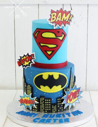 superman batman superhero cake 2 tier comic