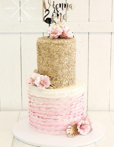 gold sequin pink ruffle 1st birthday cake