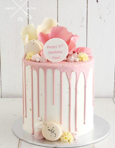 pink white chocolate sails 21st bithday cake