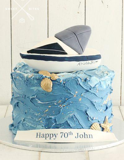 sail boat ocean sea cake