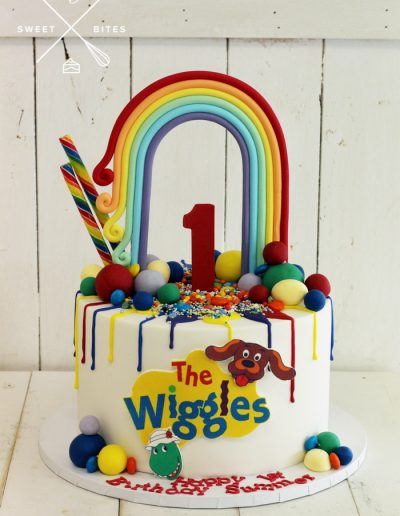 the wiggles rainbow 1st birthday cake