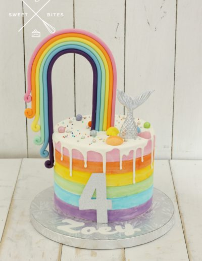 rainbow painted cake mermaid tail 4th birthday