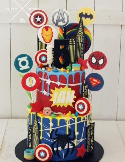 superhero overload DC marvel spiderman batman comic book cake