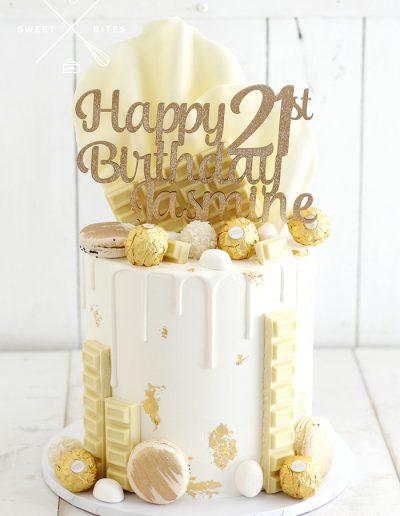 white gold 21st brithday chocolate overload cake