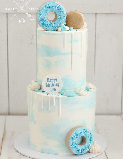 blue white drip donut cake