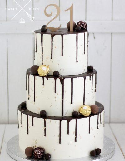3 tier chocolate drip 21st birthday cake