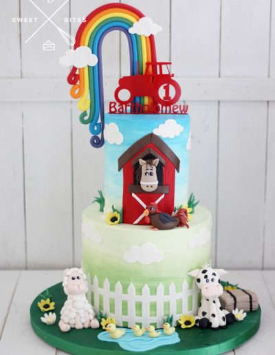 rainbow farm barn yard tractor 1st birthday cake