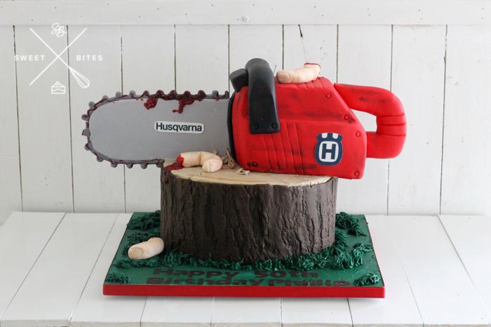 3d chainsaw log tree lumberjack arborist cake