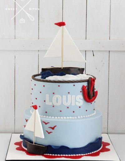 sailing sailboat anchor navy theme cake