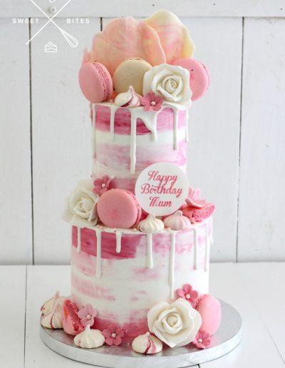 pink white watercolour flowers chocolate mum cake
