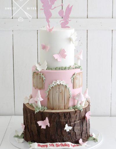 woodland fairy log tree stump house cake