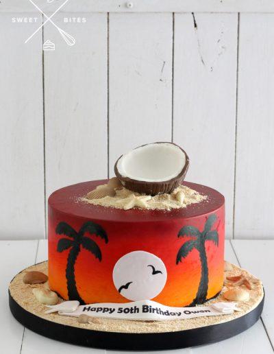 holiday tropical island sunset cake