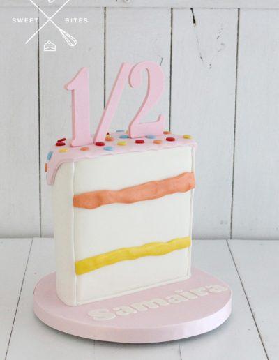 1/2 cake slice 6 month birthday