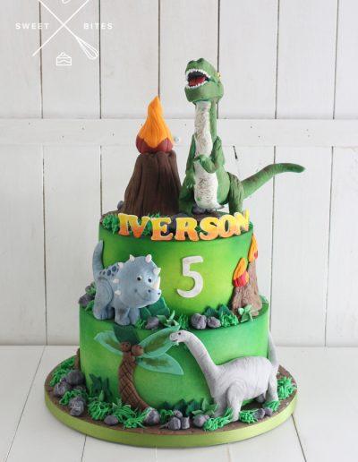volcano trex dinosaurs 2 tier cake