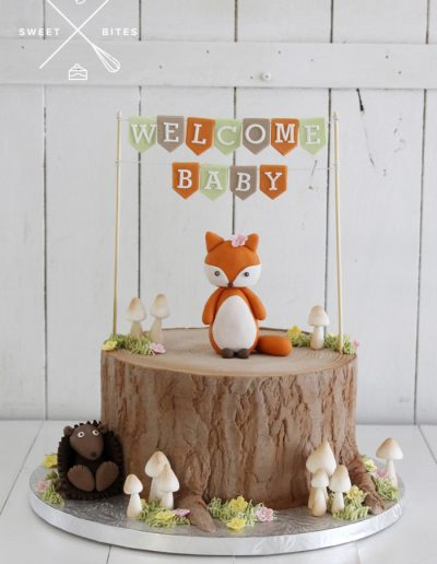 baby shower woodland fox hedgehog log tree stump cake