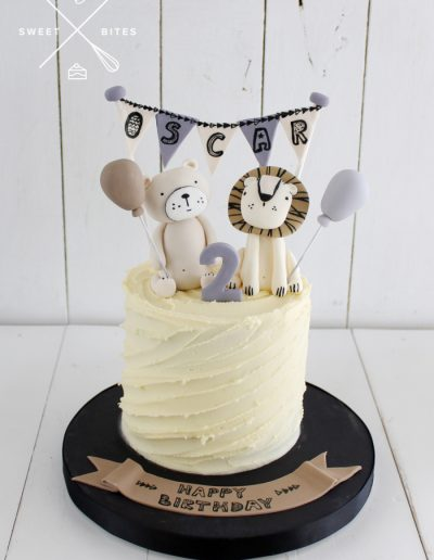 2nd birthday cake boho teddy bear lion balloons bunting