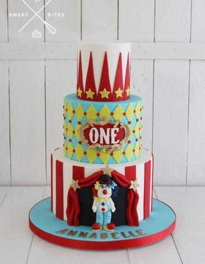 circus carnival clown cake 3 tier