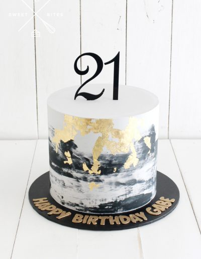 black grey gold 21st birthday cake