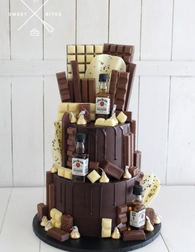 2 tier chocolate drip cake overload mini alcohol bottles