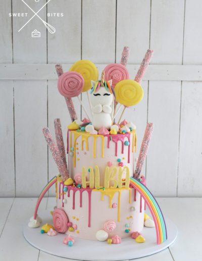 unicorn rainbow candy overload 2 tier cake