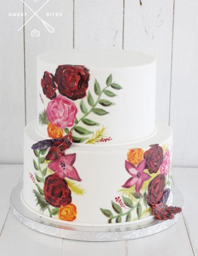 handpainted floral flowers garden cake