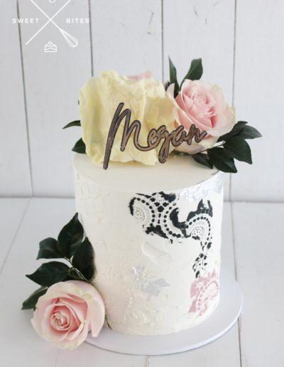 stencil black pink white roses cake