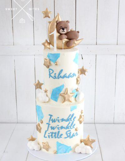 1st birthday sleeping teddy bear moon and stars cake twinkle twinkle little star