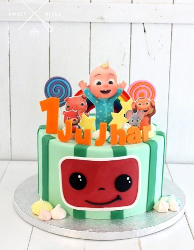 cocomelon 1st birthday cake characters