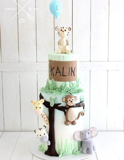 jungle baby cake 1st birthday 2 tier