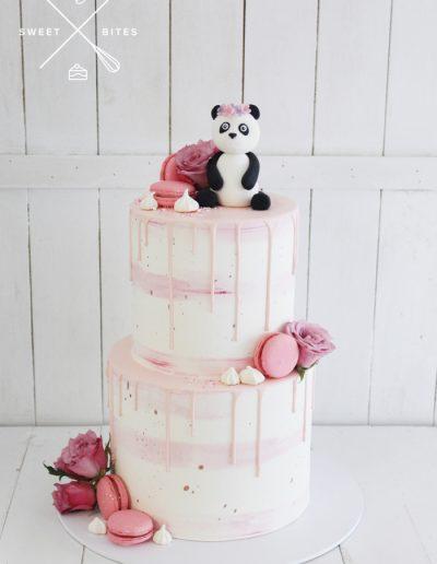 panda pink watercolour drip cake 2 tier