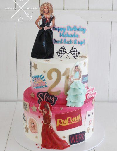 rupaul drag race queen 21st cake