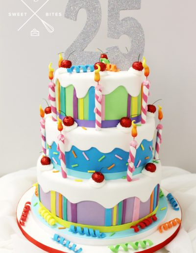 25th annual birthday celebrate cake