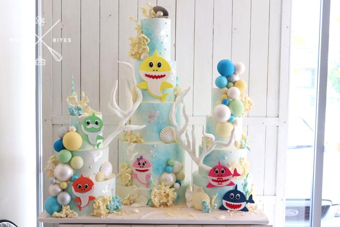 baby shark cake 5 tier pastel sea coral