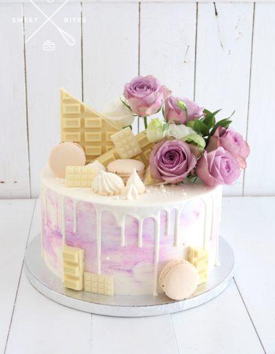 purple white birthday cake flowers
