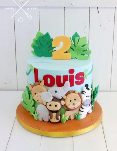 jungle animals cake cute baby 2nd birthday