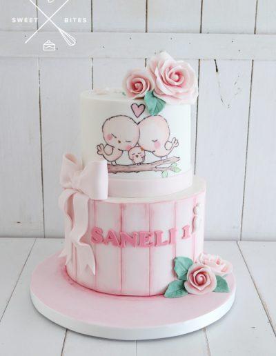 tweetie birds cute painted baby girl 1st brithday cake
