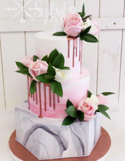 21st birthday cake hexagon grey marble pink flowers