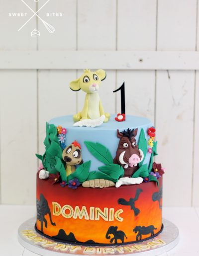 lion king sunset 1st birthday cake