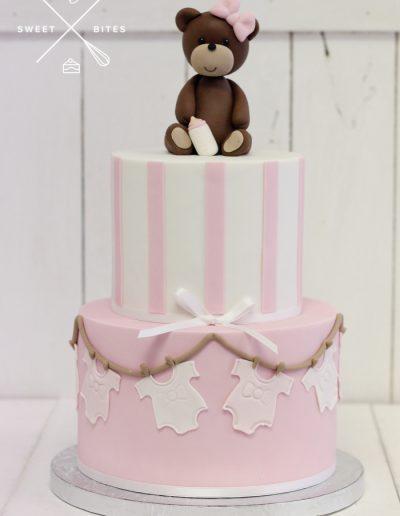 baby shower cake girl pink teddy bear