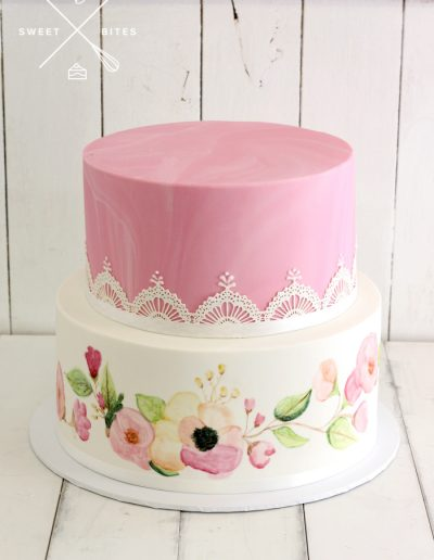 pink marble hand painted flowers cake sugar lace