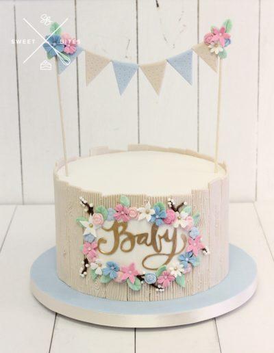 baby shower woodland bunting cake gender reveal
