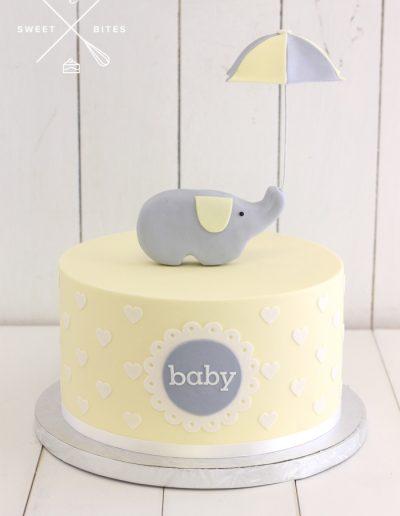 baby shower yellow elephant cake gender reveal