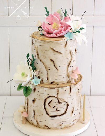tree log name carve cake