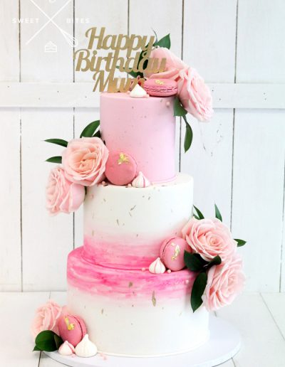 pink ombre birthday mum cake roses
