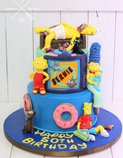 the simpsons cake homer marge 2 tier