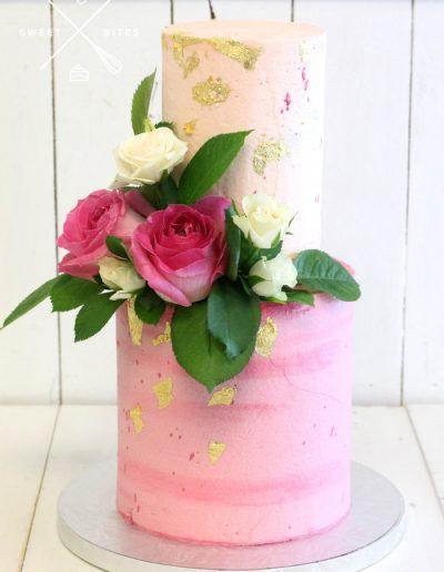 buttercream flowers pink gold 2 tier cake