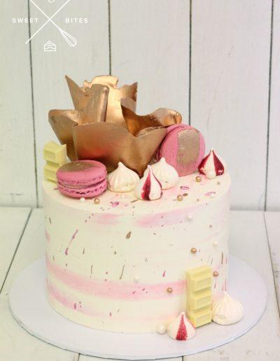 gold pink chocolate bowl sail cake